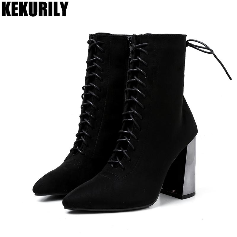 dd725fce6f29 Suede Ankle Boots Chunky Heels Shoes Woman Zip Lace Up Motorcycle Boots  High Heel Ladies Winter Booties Casual Pointed Toe Boot Black Boots For  Women ...