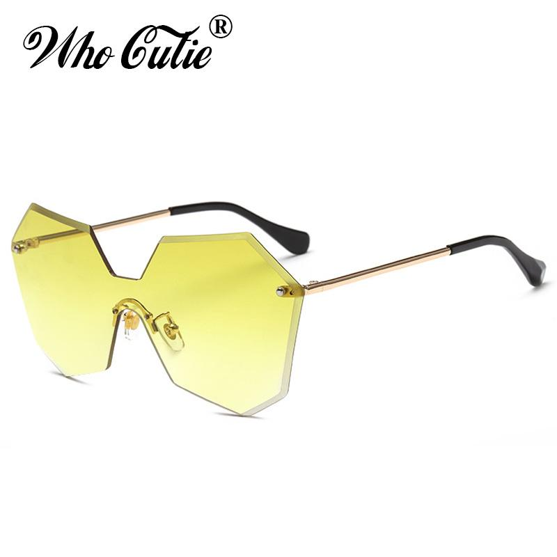 c497cb9ab9 WHO CUTIE 2018 Yellow Tint Clear Sunglasses Transparent Women Rimless  Frameless Sun Glasses Shades Oculos OM374 Fastrack Sunglasses Smith  Sunglasses From ...