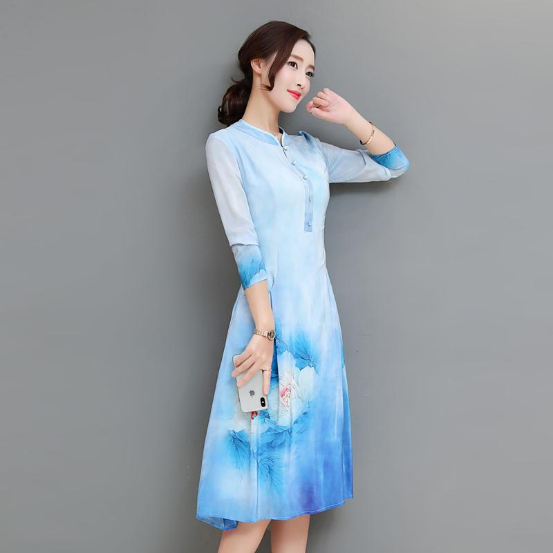 c0ec154d8fafb Spring Elegant Blue Vintage Dress Stand Collar Floral Printed Long Sleeve  Dresses Long A-Line Silk Dress Women Dresses M-3XL