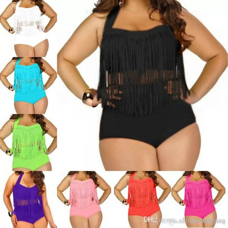 57f20c76d97 2019 Big Size Swimwear For Women Fringe Tassels Bikini High Waist Swimsuit  Sexy Women Bathing Suit Padded Boho Swimsuit Monokini From Chinawangshang
