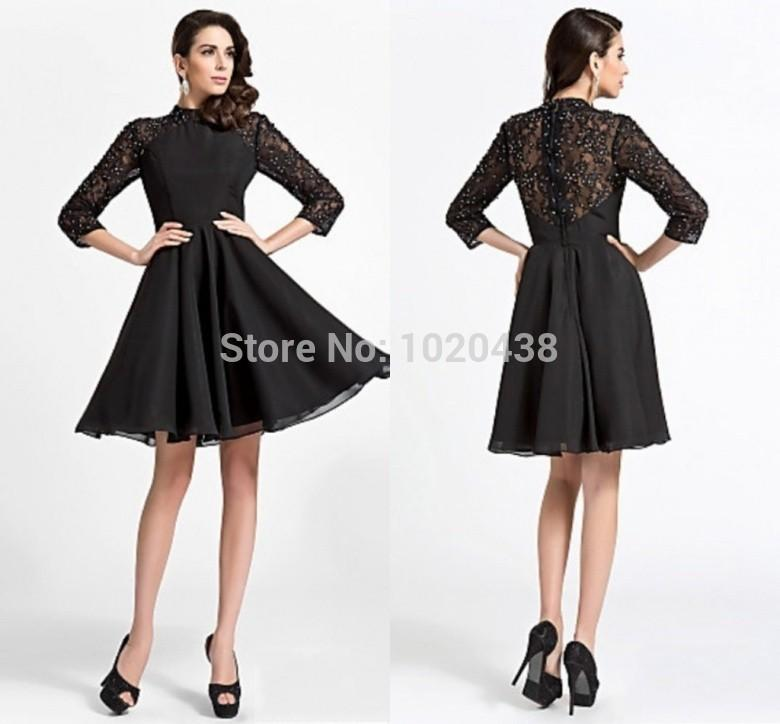 Black lace Chiffon long sleeve short Cocktail Dresses 2018 new fashion High Neck Shiny Beaded a-line Handmade party prom gowns