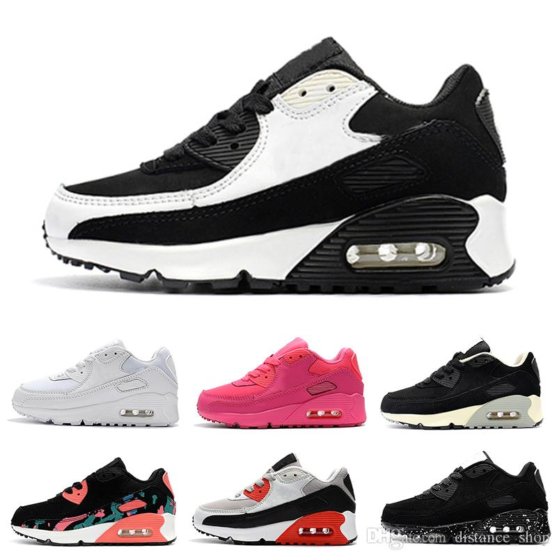 bas prix 6f43d 07c97 Nike air max 90 2018 Infant Bébé Garçon Fille Enfants Jeunesse Enfants 350  Chaussures de course à pied Chaussures de sport Pirate Noir classique 90 ...