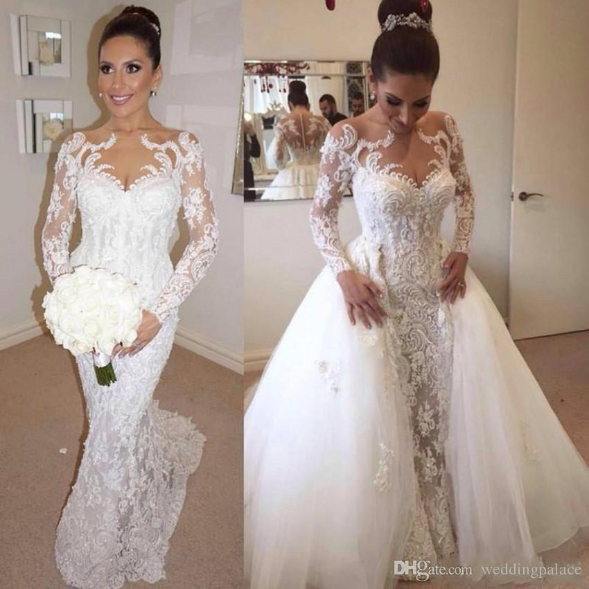 9c2ba867f63 2019 New Illusion Long Sleeves Lace Mermaid Wedding Dresses Tulle Applique  Court Bridal Formal Gowns Zipper With Button Back Wedding Dress Dress Gowns  ...