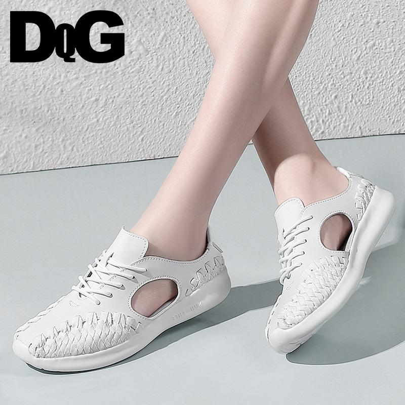 07672755cf4c 2019 Casual DQG 2018 Summer Women Shoes Flats Woven Zapatos Mujer Solid  White Lace Up Chaussures Femme Shallow Breathable Female Sneakers Green  Shoes Most ...