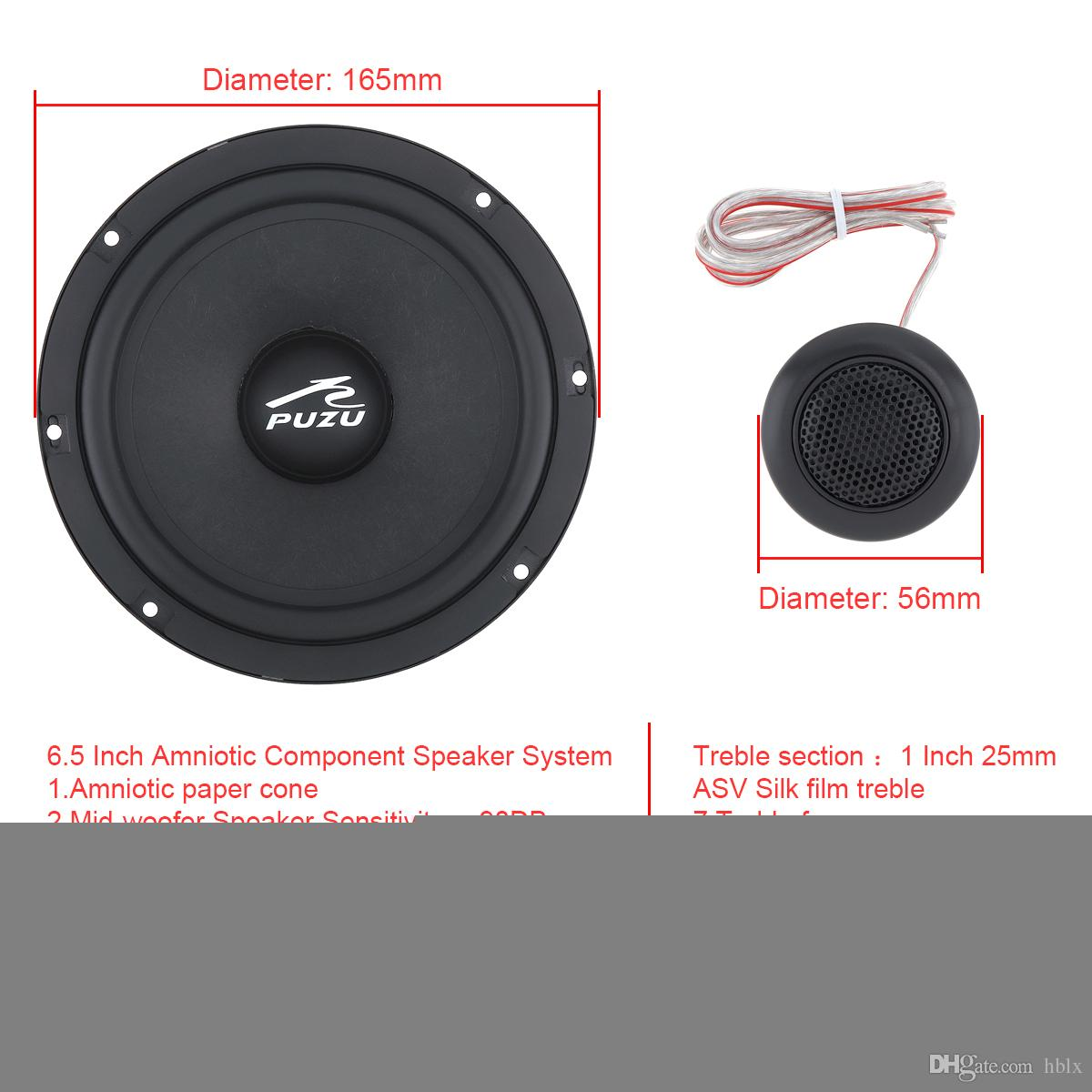 PZ-C165 2Pcs 6.5 Inch 180W Car Coaxial Full Range Frequency Stereo Speaker with Tweeter and Frequency Divider for Cars CSA_00T