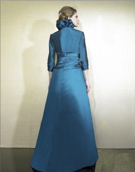 2018 new design vestidos de festa taffeta blue long dress party evening elegant dresses formal gowns with jacket