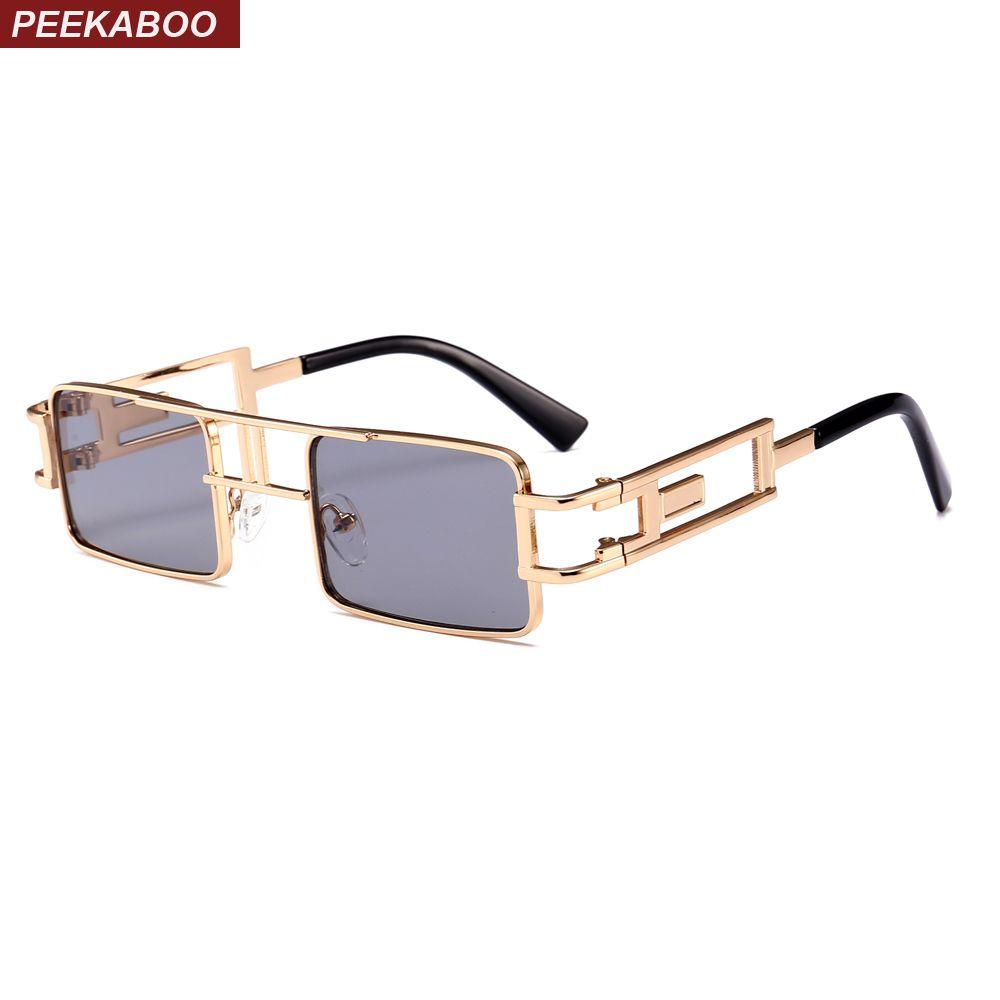 7c01bd1733cb Peekaboo Mens Rectangular Sunglasses Steampunk Men Metal Frame Gold Black  Red Flat Top Square Sun Glasses for Women 2018 Sun Glasses Sun Glasses for  Women ...
