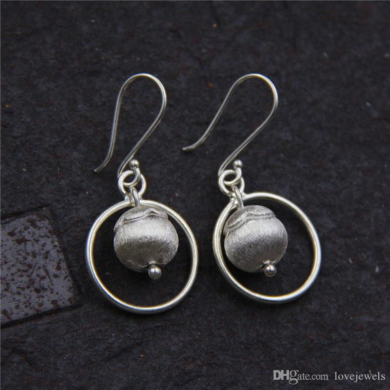 a6ec6e773 2019 Designer Jewelry Fashion Charm 925 Sterling Silver Earring Handmade  Round Bead Wire Drawing Process Earrings Ladies Ear Vintage China Direct  From ...