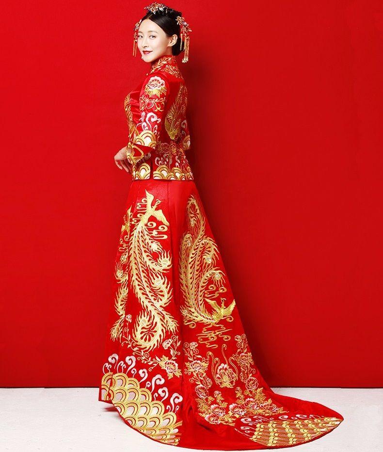 Long Train Cheongsam Chinese Wedding Dress Qipao Traditional ...