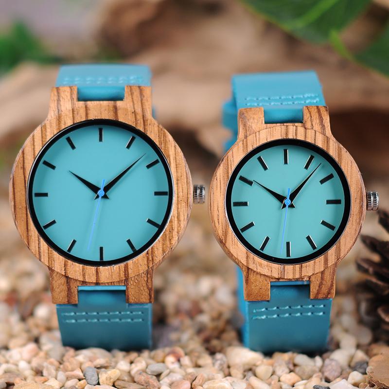 a55aae5deb9 Compre Relógios Casal Relógios BOBO BIRD Clássico Zebra Relógio De Madeira  Para Homens Mulheres Indigo Azul Design Relógio De Quartzo Dois Optiom  Tamanho Do ...
