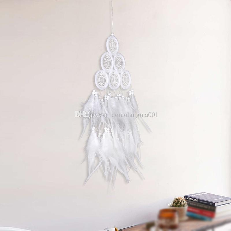 White Dreamcatcher Handmade Dream Catcher Net With Feathers Wind Chimes Wall hanging Home & Wedding Decoration Ornament
