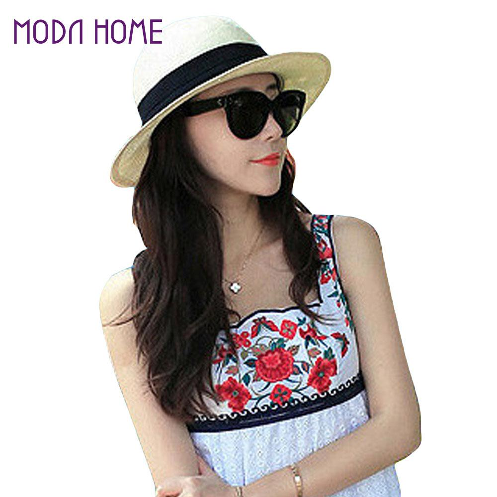 Cute Women Girls Straw Hat Solid Color Cat Lace Belt Headwear Sun Bucket  Sun Hat Women Summer Cap Beachwear Camel Beige Funny Hats Hat World From  Ekkk e8d0987cb6f
