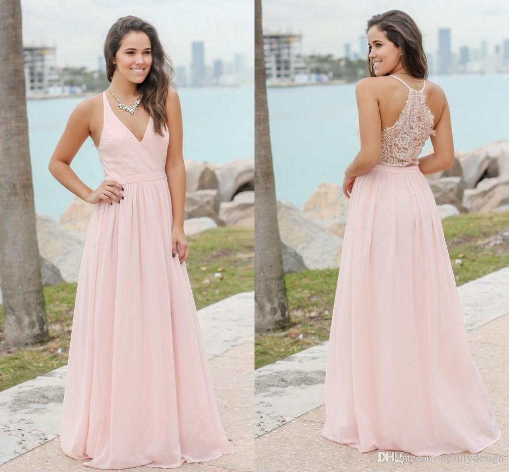 5155c4d411 Compre Dulce Rosa Verano Bohemio Damas De Honor Vestidos 2019 Sexy Cuello En  V Espalda De Encaje Una Línea De Gasa Larga Boda Invitados Vestidos De  Fiesta ...