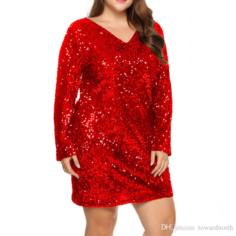 Women Plus Size 5xl Fashion Long Sleeve Sequin Sheath Ladies Dresses