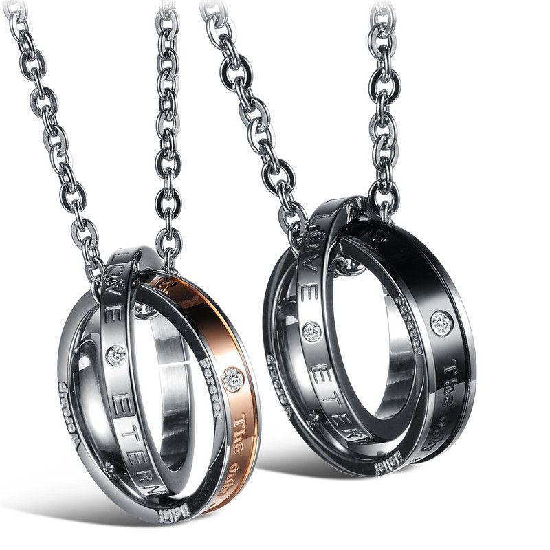 Pareja de alta calidad collares para los amantes de titanio collar de acero inoxidable joyería de moda para hombres mujeres accesorios OGX832