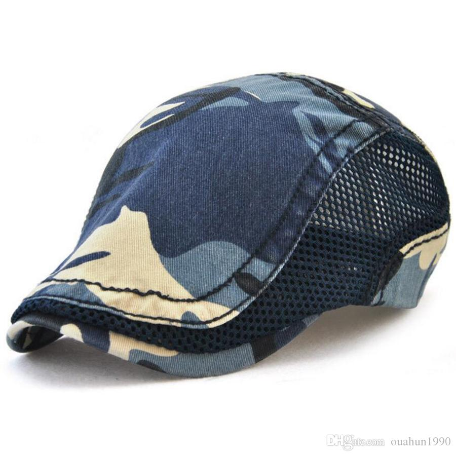 121c4fe5d1e 2019 Camouflage Mesh Newsboy Hat Beret Summer Ivy Cabbie Driving Strapback Flat  Cap Outdoor Sports Vintage Men Women Driver Sun Adjustable 8712 From ...