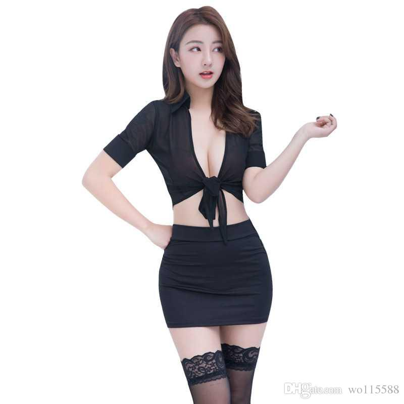 2c9c1ffa6a7f Free Shipping New sexy lingerie cosplay women's perspective cardigan  uniform temptation sexy bag hip skirt secretary set black and white