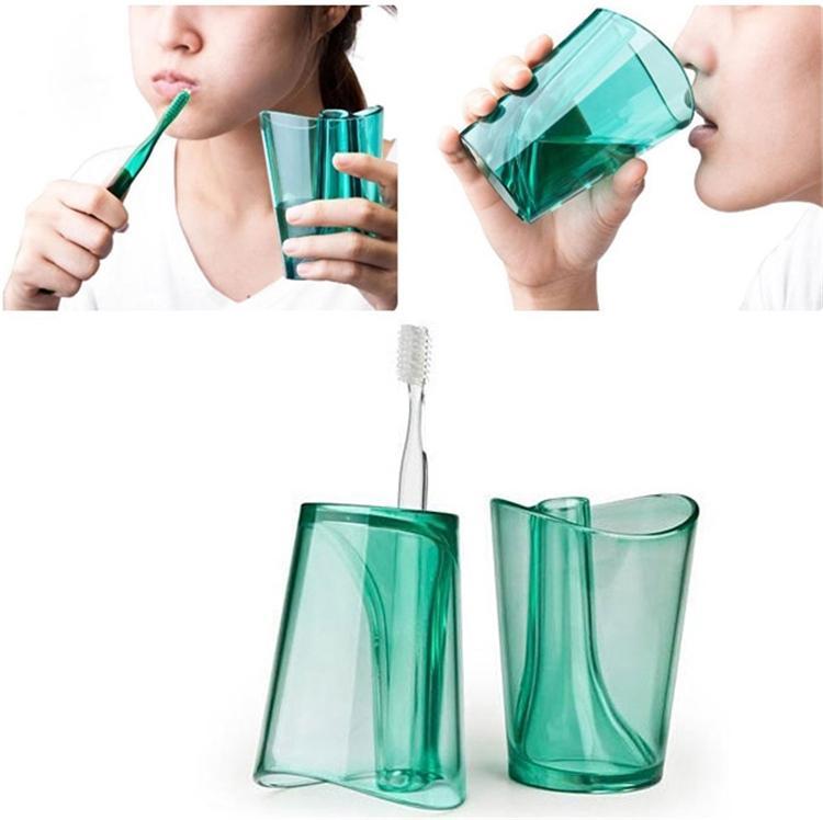 Portacepillos para dientes 2 en 1 Lavar la Copa Gargle Antiescala innovadora Cepillo de dientes para el agua Taza para cepillado I253