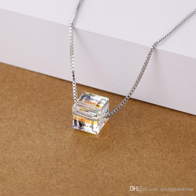 Luckyshine moda design simples 6 pçs / lote colorido aura de cristal de zircão cristal banhado a prata quadrado casamento pingentes + cadeia de jóias