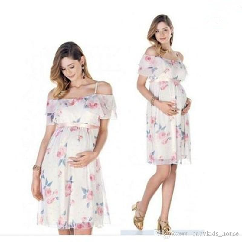 e22e856a088b 2019 Pregnant Dress Ruffle Off Shoulder Floral Maternity Dresses For Photo  Shoot Chiffon Maternity Dress Party Clothes From Babykids_house, $18.13 |  DHgate.