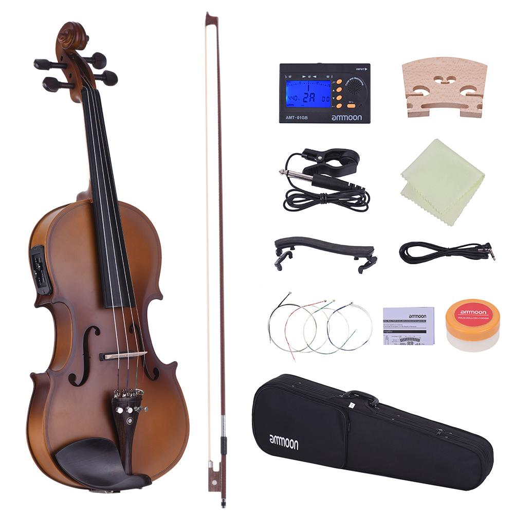 wholesale Full Size 4/4 Violin Acoustic Electric Violin Fiddle Solid Wood Body Ebony Fingerboard Pegs Chin Rest Tailpiece