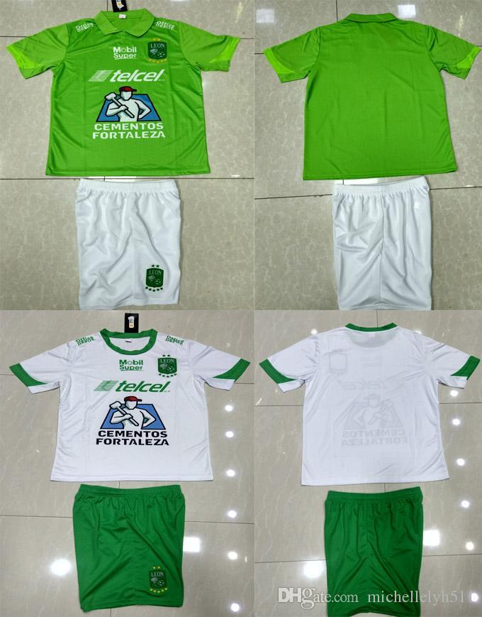 18 19 Leon Kit Home Away Soccer Jersey Shorts 2018 19 Liga MX Club Leon  Thai Quallity Football Set Green Sports Uniform White Football Shirt Leon  Soccer ... 980da9ac0