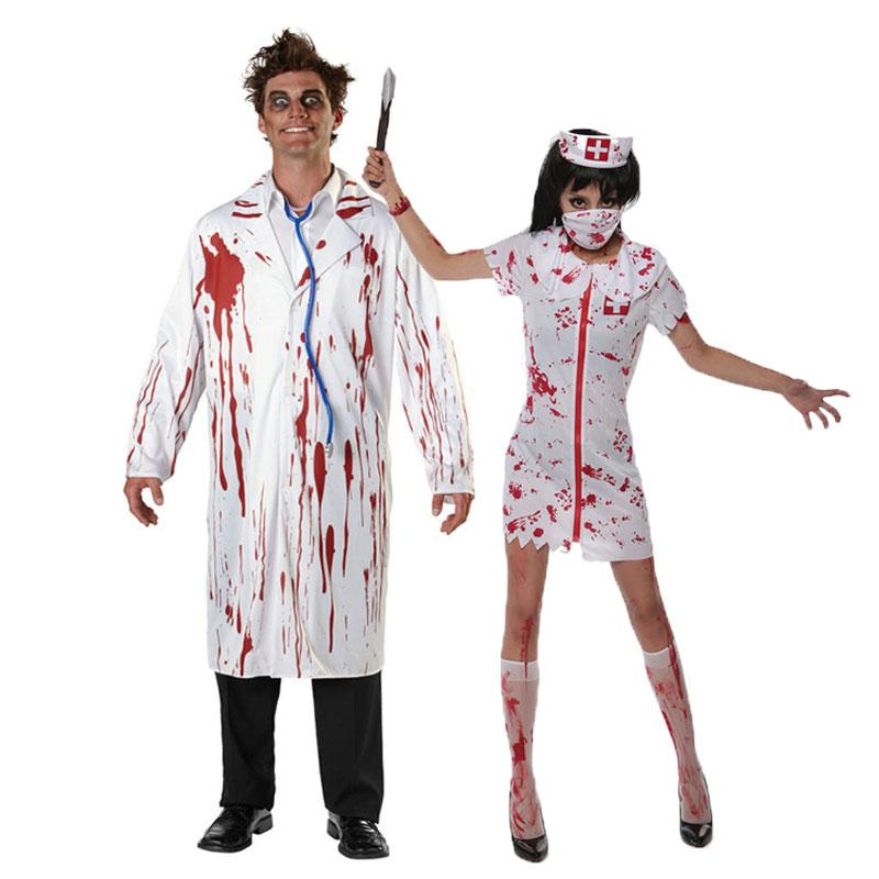1ce111d3edc27 Umorden Carnival Party Halloween White Bloody Zombie Doctor Nurse Costume  Men Women Couple Adult Scary Doctor Costumes Cosplay Hollywood Theme Party  ...