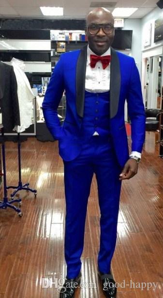 Acquista Bellissima Giacca Da Sposo Blu Royal Slim Fit Da Uomo Formale Abiti  Da Uomo Uomo Abiti Da Sera Custom Made Giacca + Pantaloni + Cravatta +  Gilet NO ... 4625c62b5c9