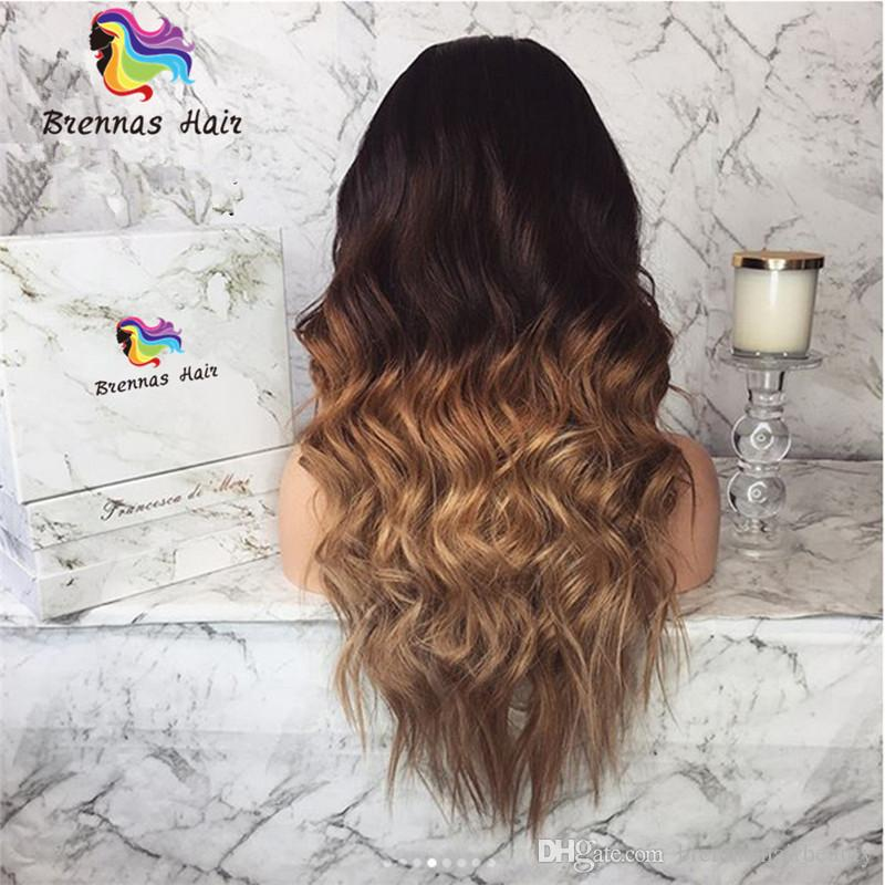 Front Lace Wigs Natural brazilian Human Virgin hair ombre two tone 1b 30 27 golden brown blonde wigs unprocessed natural hairline wigs USA