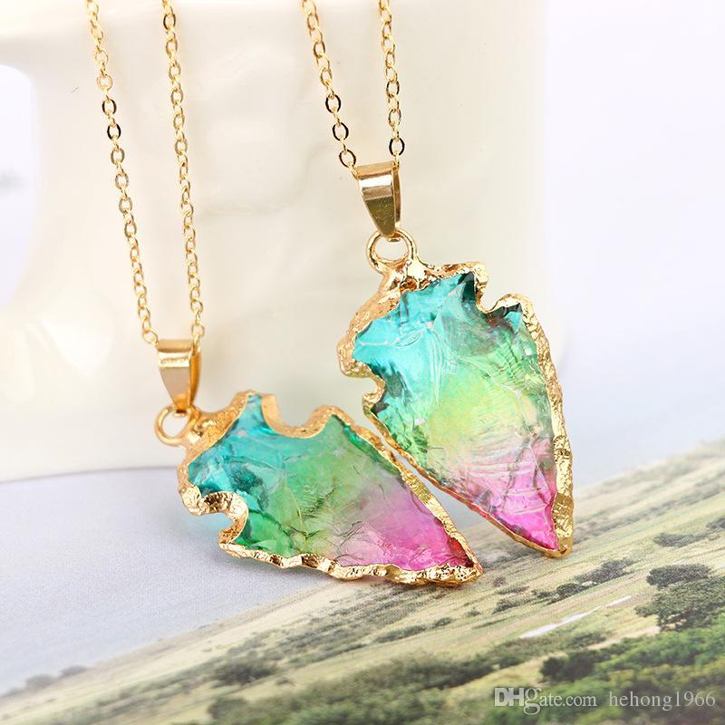 Colar colorido New Arrowhead Forma Artesanato de Cristal Arco Íris Presentes Sete Cores Pingente de Lembranças De Jade Natural Direto Da Fábrica 12yg V