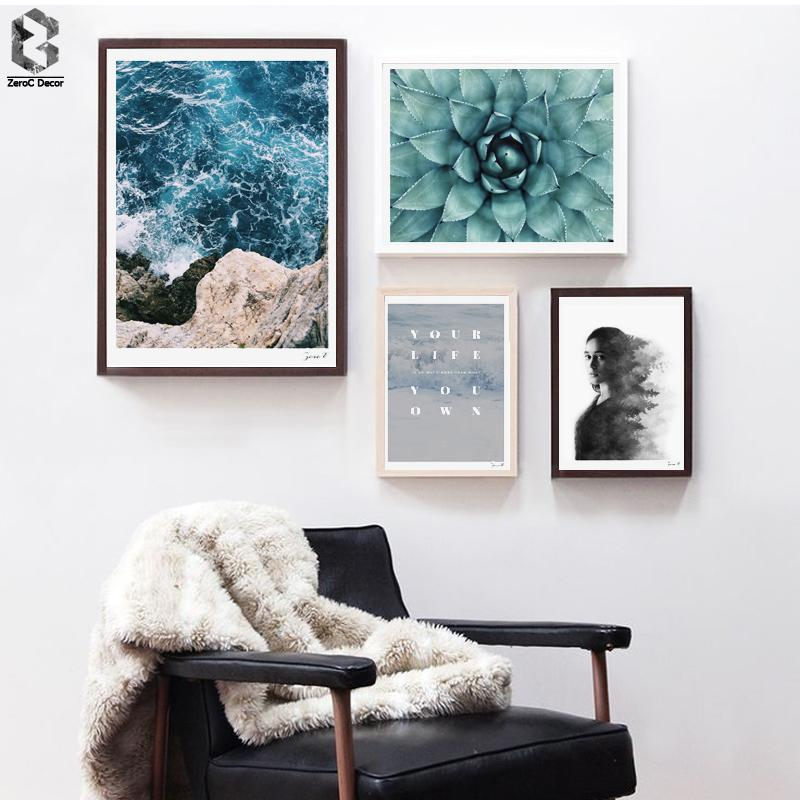 Nordic Seascape Minimalist Canvas Art Print Poster, Quotes Wall Paintings  for Living Room Decor Cactus Home Decoration