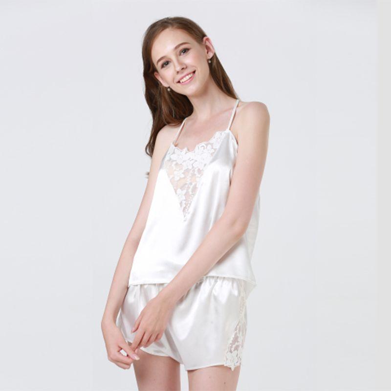 2019 Sexy Pajama Sets Lace Satin Top And Shorts Pajama Set Women Sleeping  Wear Summer Sleeveless From Baiyulanflo 17f89ca12