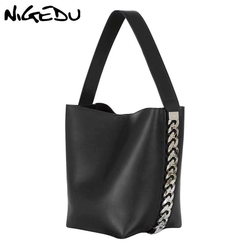 NIGEDU large women handbag Luxury Designer Shoulder Bag for Female Big Chain Bucket Bag PU Leather Versatile lady Totes black Y18102304