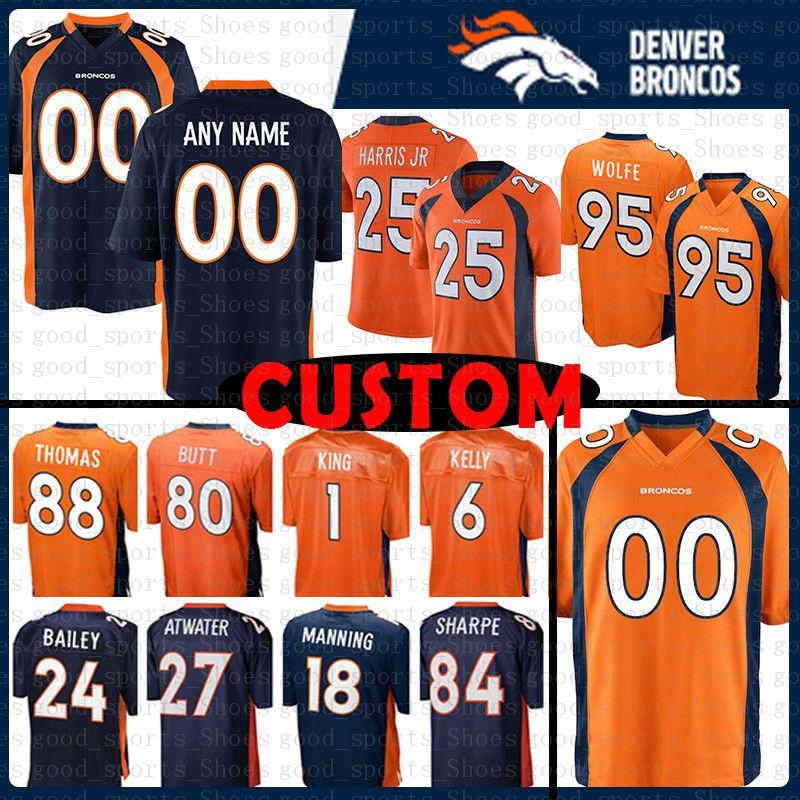 new arrivals c6aaf 68b2e Custom Denver Jersey Broncos 24 Champ Bailey 25 Chris Harris Jr 95 Derek  Wolfe 6 Chad Kelly 88 Demaryius Thomas 84 Shannon Sharpe 27 Atwate