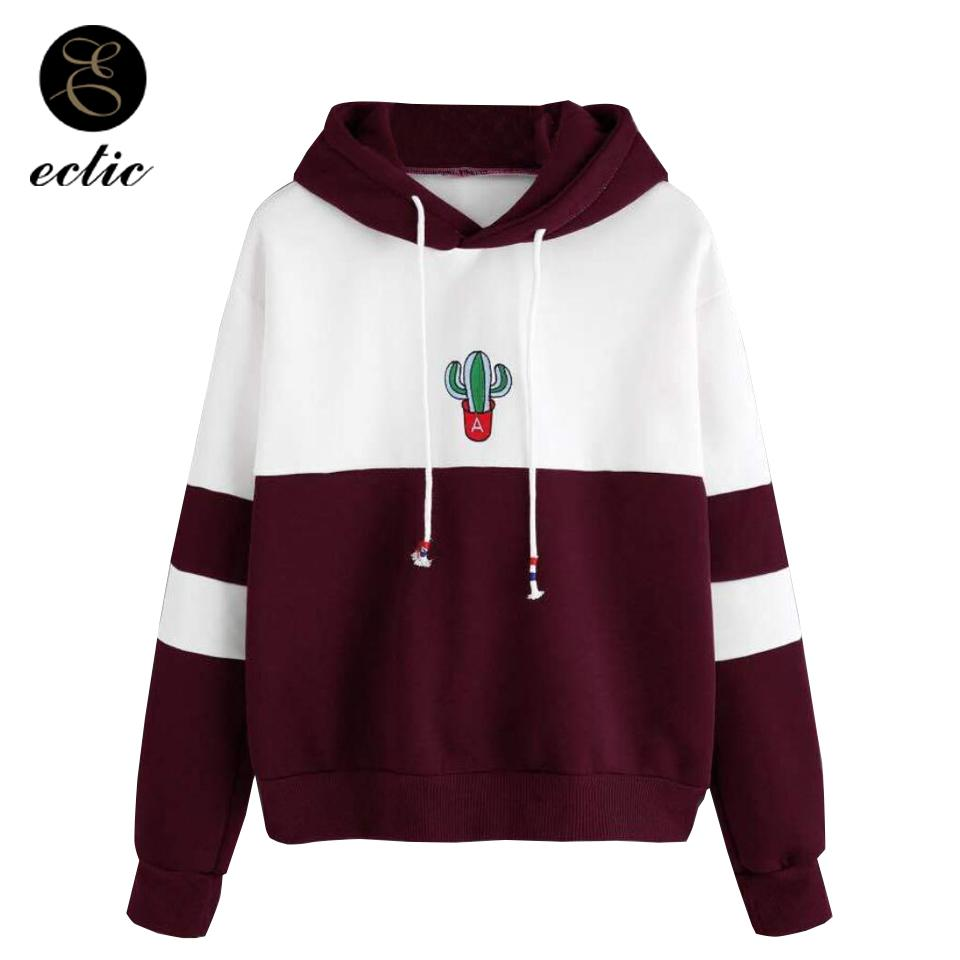 14b2eebe8b5 2019 Sweatshirt Cactus Poleron Mujer 2018 Print Patchwork Striped Women  Hoodies Embroidery Long Sleeve Oversized Hoodie Pullover Bts S18101006 From  Jinmei03 ...