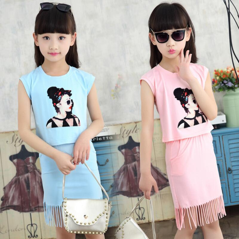 b2cea6526b221 2018 Fashion Casual Summer Toddler Teen Girls Clothing Sets Print T-Shirts+Tassel  Skirts 2 Pcs Children Kids Clothes Set JW3328