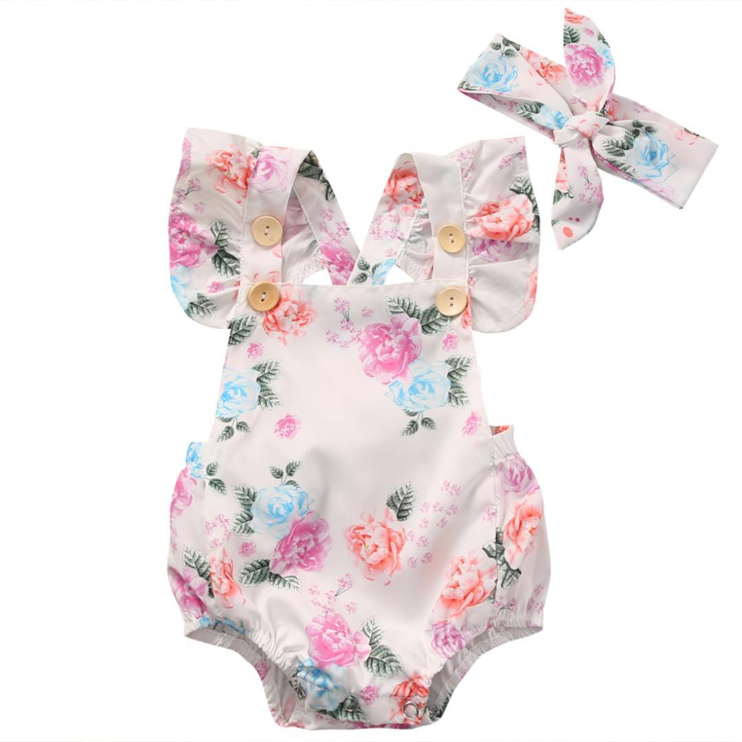 fd0515987 2019 Baby Girls Infant Floral Ruffled Sleeved Backless Romper Summer 2017  Button One Pieces Rompers Headband Clothes Sunsuit Sets From Ferdimand, ...