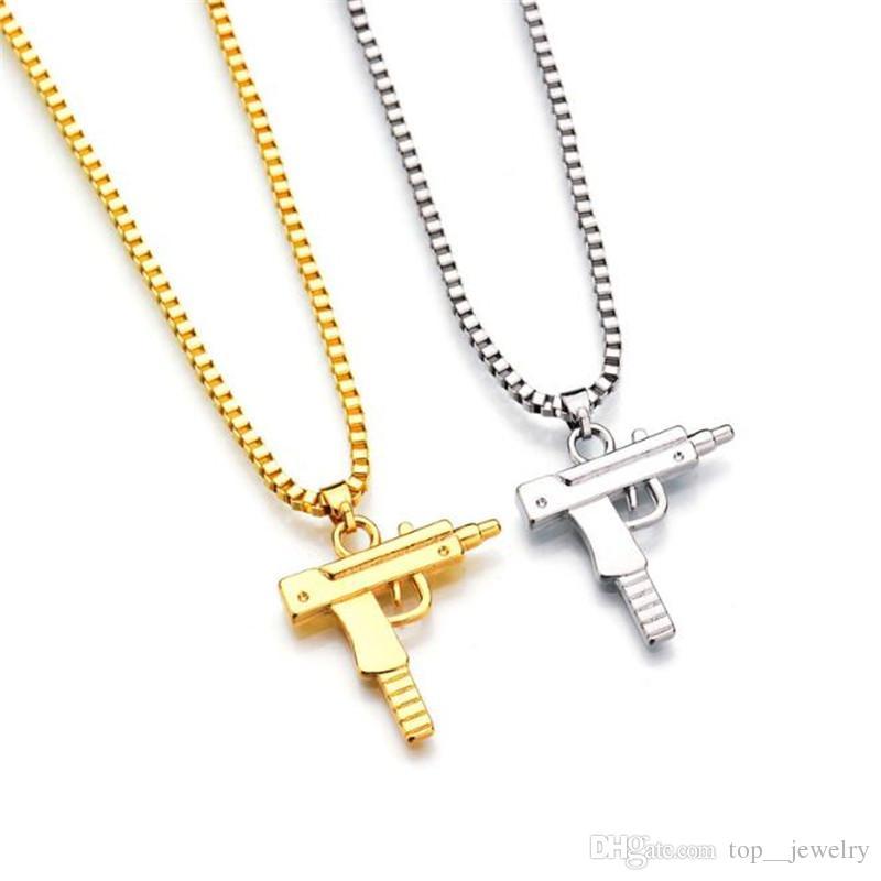 in uso durevole il più grande sconto store HOT Hip Hop collane incise forma a forma di Uzi ciondolo d oro di alta  qualità collana catena d oro popolari gioielli ciondolo moda