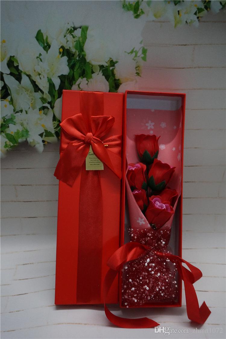 Die Staffelungszeit kreative Geschenk 6 Rosen Bouquets aus Seife Valentinstag Geschenke Die Simulation Blumenkasten