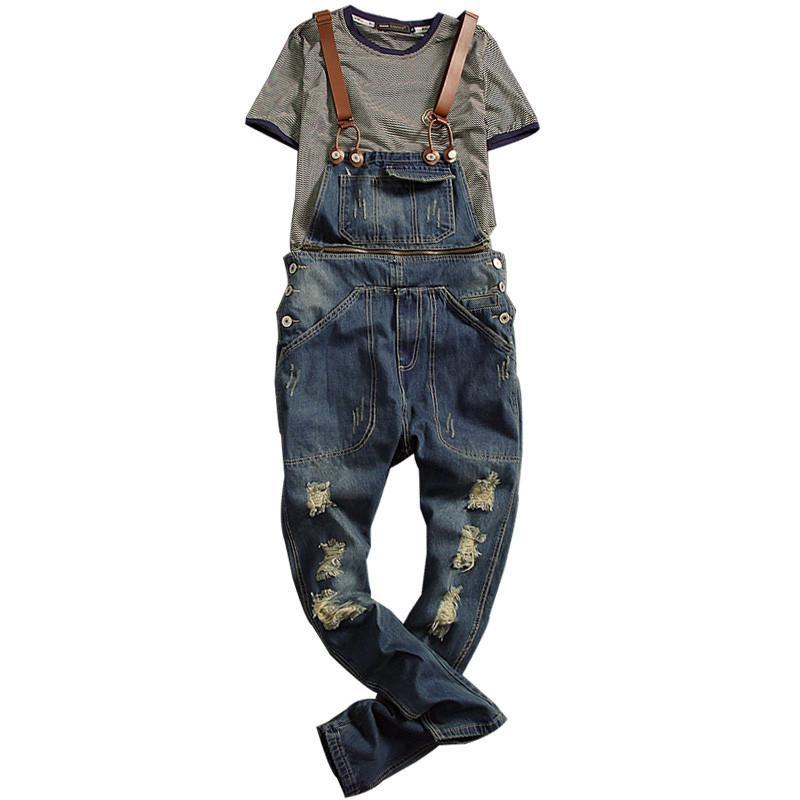 53a964e120 MORUANCLE Moda Uomo Strappato Salopette Salopette Jeans Distressed Tute Per  Uomo Bretella Pantaloni Bretella Staccabile