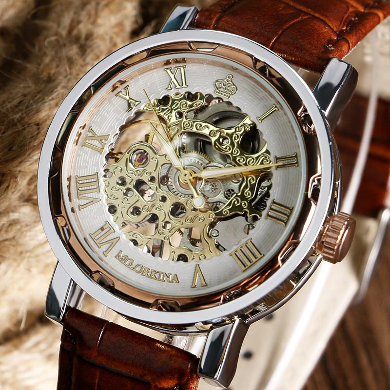 Golden Skeleton Analog Roman Numerals Dial Brown Leather Band Strap Hand-Winding Mechanical Wrist Watch For Men Women