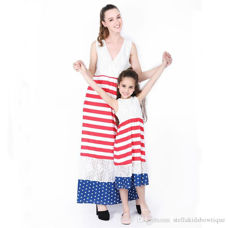 High Quality New Matching Outfits Stripe Sleeveless Casual Mother Daughter Dresses Fashion Lace Design Dress for Mommy and Me