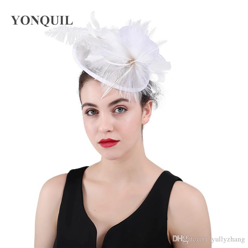 2019 Vintage Rose Sinamay White Fascinator Hat Headbands Women Wedding  Party Bridal Hat Fascinator Ladies Formal Dress Accessories New SYF432 From  ... 15e879a35c7