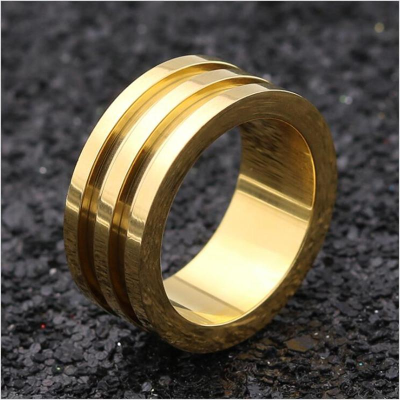 2019 Wedding Bands Stylish 2 Groove Thumb Gold Ring For Men 316L Stainless  Steel Rings Width 10MM Index Finger Trendy Party Jewelry From Comee, ...