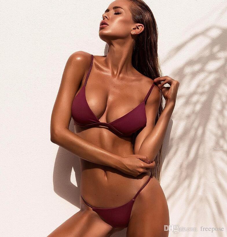 1fcf30b62 2019 2017 Sexy Solid Top Thong Micro Bikinis Women Swimsuit Brazilian Bikini  Set Bathing Suit Beach Wear Biquini Monokini Summer Swimwear FPW3789 From  ...