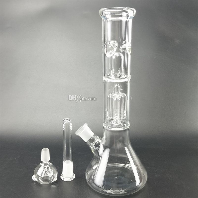 Five color double layer filter hookah percolator high borosilicate glass water pipe percolator hand blown hookah glass bong with mini beaker