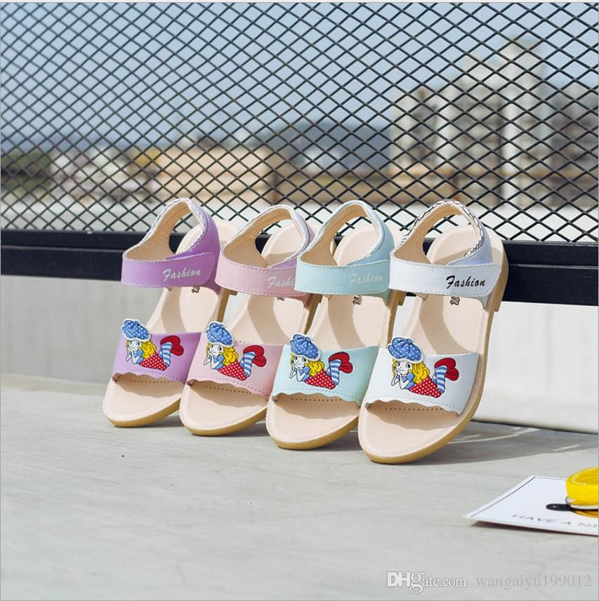 04fd247f5 2018 New Girls Sandals Little Princess Soft Bottom Leather Summer Cute  Korean Version Of The Five Four Year Old Girl Slip Shoes Kids Boys Shoes  Cheap ...