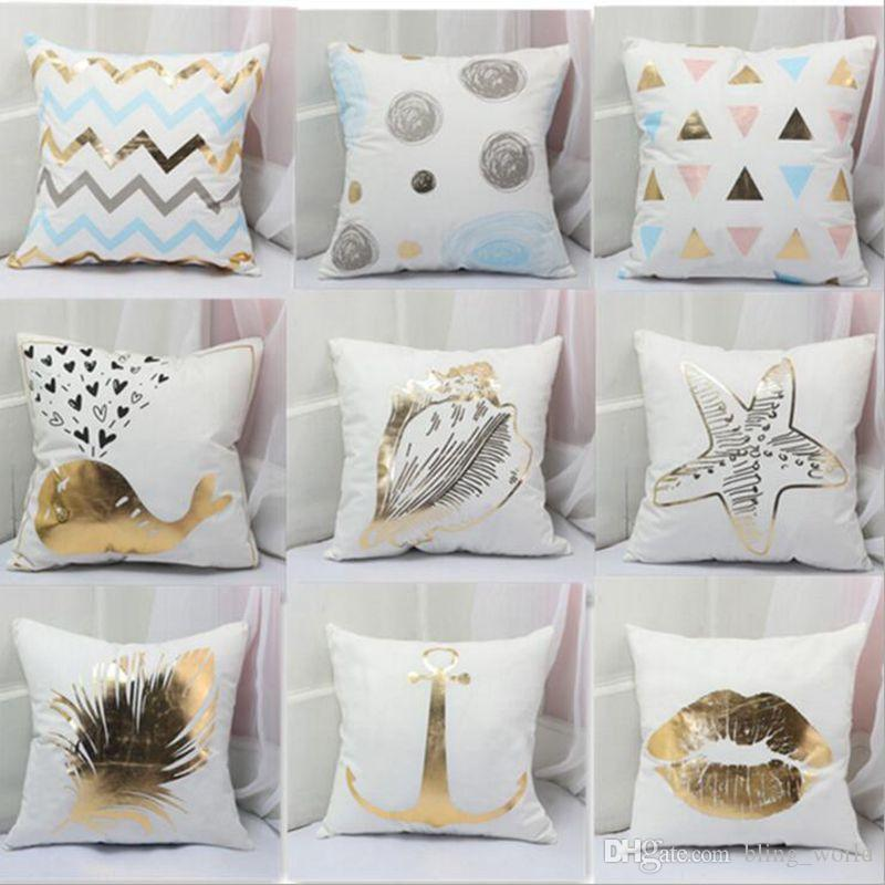 Soft Velvet Pillow Case Bronzing Printed Pillow Covers Sofa Cushion Cover  Car Office Home Decor 16 Designs Yw523 Euro Pillow Case Travel Pillow Cases  From ...