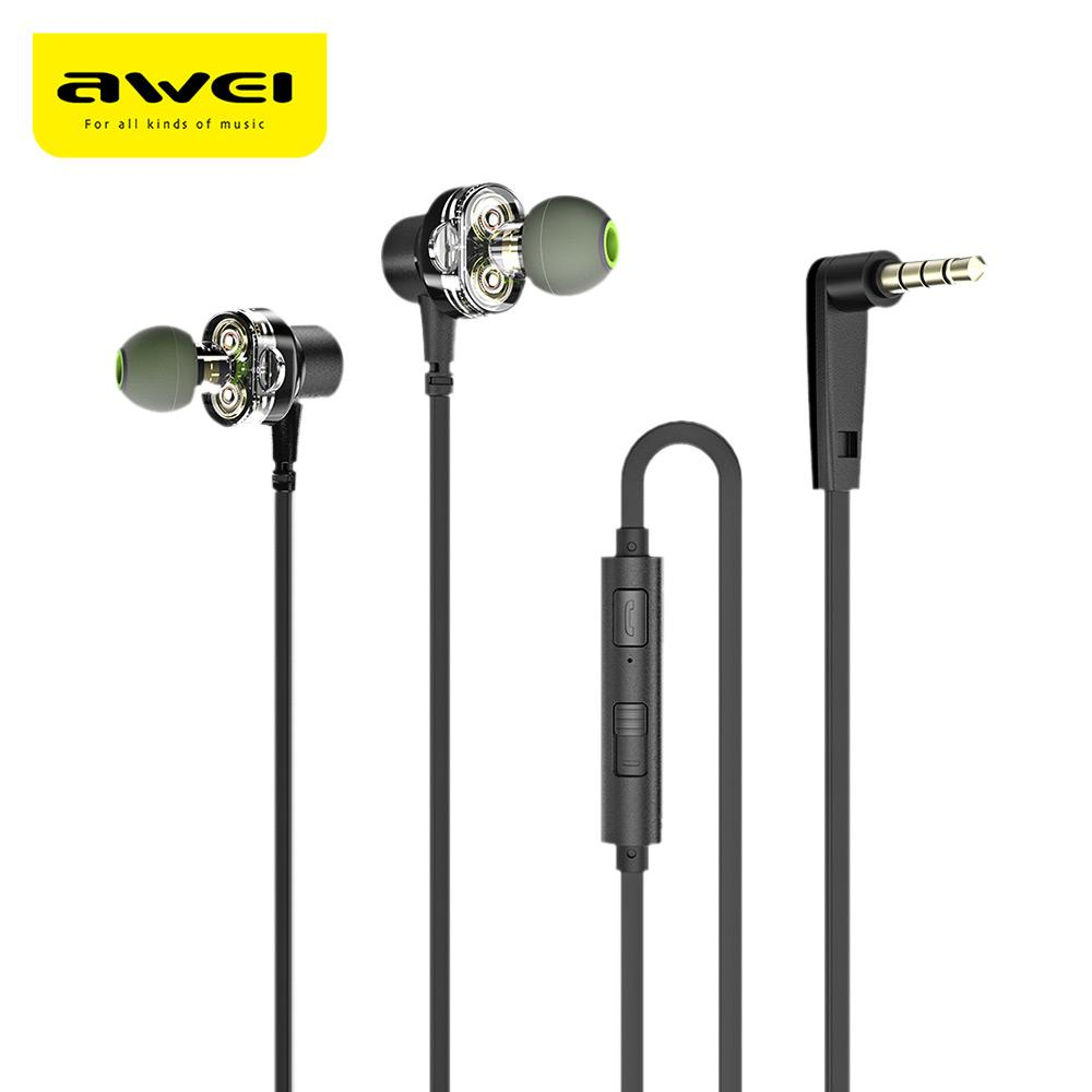 Awei Z1 Dual Drivers Ecouteurs filaires Deep Bass Stereo avec micro In-Ear