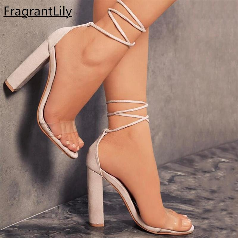 326b5effaf1 FragrantLily New Suede Heel Sandals Women Lace up Transparent Shoes Summer  Ankle Strap High Heels Woman Thick Nude Shoes 34-43